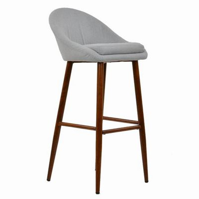 Cologne Wooden Fixed Height Bar Stool Light Grey Fabric