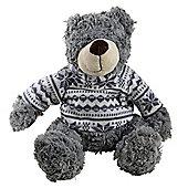 Large 45cm Plush Cuddly Christmas Teddy Bear Toy in Grey Festive Jumper
