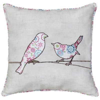 Patterned Bird Cushion - Natural