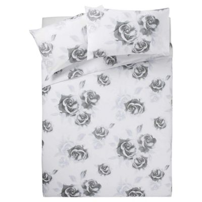 Tesco Audrey Print Duvet Cover Set Black/White Double