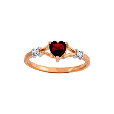 QP Jewellers Diamond & Garnet Heart Ring in 14K Rose Gold - Size J 1/2