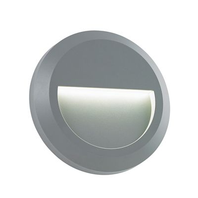 Severus Round Indirect 1W Warm White Wall Light Grey Abs Plastic