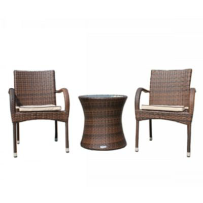 Roma Round Bistro Set in Chocolate Mix and Coffee Cream