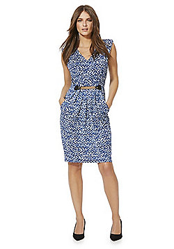Mela London Zigzag Print Belted Dress - Blue