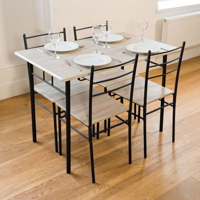 Cecilia 5 Piece Table & Chair Set - Charcoal