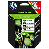 HP 950XL Black Ink Cartridge + 951XL Cyan, Magenta, Yellow Ink Cartridges (Combo Pack)