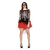 F&F Glitter Skeleton Dress Halloween Costume - Black
