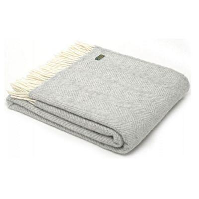 Tweedmill Textiles 100% Pure Wool Blanket Fishbone Design in Silver Grey
