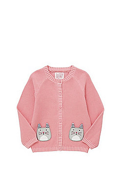 F&F Cat Face Pocket Cardigan - Pink
