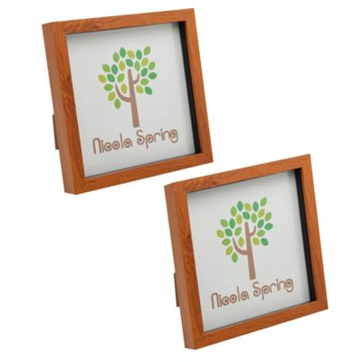 Dark Wood Effect 8x8 Box Photo Frame - Standing & Hanging - Pack of 2