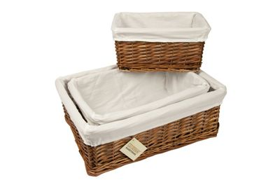 Woodluv Set Of 3 Brown Wicker Storage Basket With White Lining