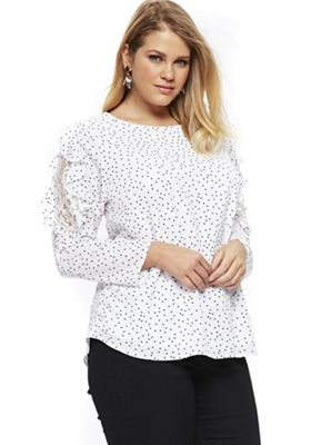 Evans Spot Lace Insert Plus Size Top Ivory 22
