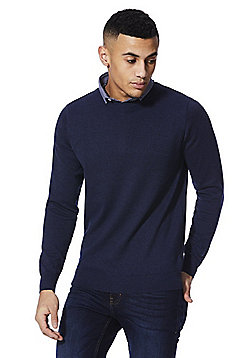 F&F 2 in 1 Shirt Collar Jumper - Navy