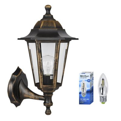 Mayfair IP44 Outdoor Up & Down LED Wall Lantern in Brushed Bronze