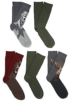 F&F 5 Pair Pack of Plain and Forest Animal Fresh Feel Ankle Socks - Multi