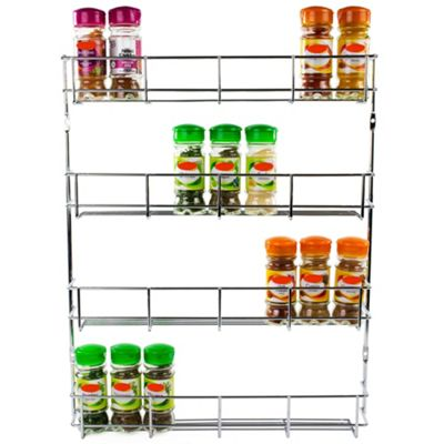 Andrew James Spice Rack - 4 Tiers for Jars & Small Bottles - Chrome