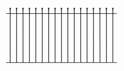 Ball Top Metal Fence Panel 183cm GAP x 91cm High Wrought Iron Style