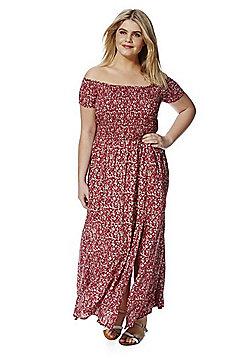 Samya Off the Shoulder Plus Size Maxi Dress - Red
