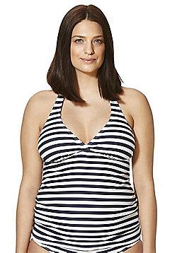 F&F Striped Halterneck Maternity Tankini Top - Blue