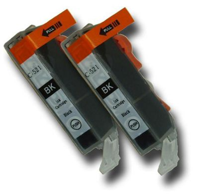 2 Chipped Compatible Canon CLI-521 Bk Black Ink Cartridges