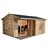 Home Office Executive Single Glazed Wooden Log Cabin, 44mm, 13x10ft