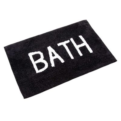 Homescapes BATH Phrase Black Bath Mat