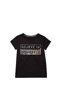 F&F Active Slogan T-Shirt - Black