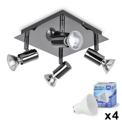 Square Four Way LED Ceiling Spotlight, Black Chrome & Daylight GU10 Bulbs