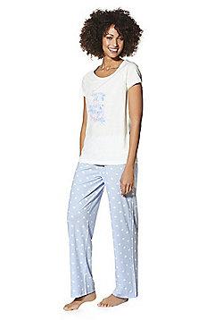 F&F Oh Happy Days Slogan Pyjamas - Cream & Lilac