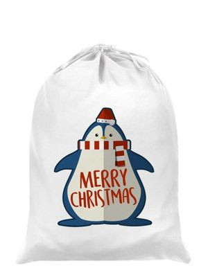 Cute Christmas Penguin Santa Sack 53x44cm, White