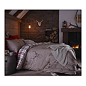 Catherine Lansfield Home Cosy Corner Stag  Bed Cotton Rich Duvet Cover Set - Red