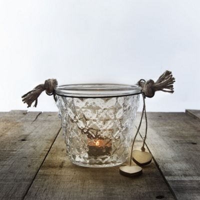 Set of 3 Clear Glass & Jute Bucket Tealight Candle Holders