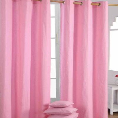 Homescapes Cotton Plain Pink Ready Made Eyelet Curtain Pair, 137 x 182 cm