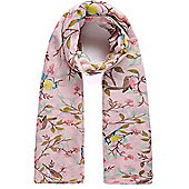 Pink Bird and Berries Print Scarf