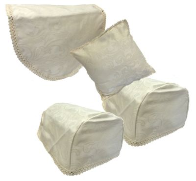Jaquard Embroidered Chair Back Arm Caps & Cushion Cover Set