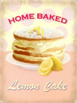 Lemon Cake Home Baked Tin Sign