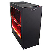 Cube Ryzen 5 6 Core VR Red LED Gaming PC 32GB 2TB Hybrid WIFI RX 580 4GB Win 10