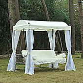 Outsunny 3 Seater Swing Chair Bed w/ Mesh Side Walls and Drinks Holder - Cream