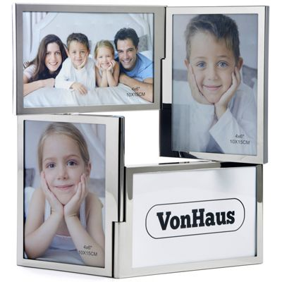 VonHaus 4 Picture Multi Aperture Double Hinged Photo Frame