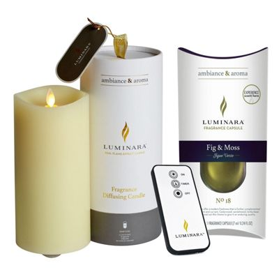 Luminara Fragrance Diffusing Flameless Virtual Flickering Candle and Fragrance Pod Fig & Moss