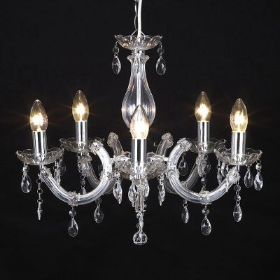 Marie Therese Five Way Ceiling Light Chandelier, Chrome