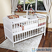 Isabella Cot Bed/Jnr Bed-Sprung Safety Mattress-Cot Top Changer-Drawer - White