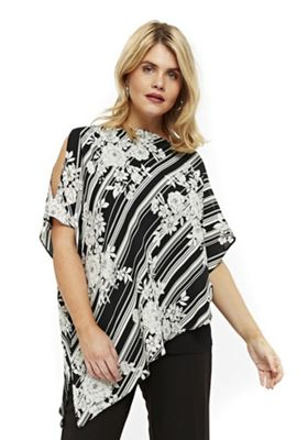 Evans Striped Floral Print Asymmetric Plus Size Top Multi 28