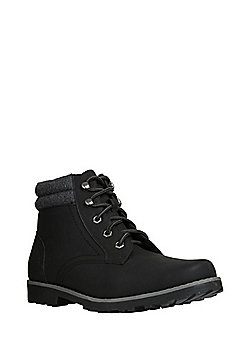 F&F Borg Lined Lace-Up Boots - Black