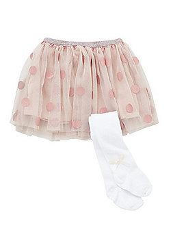 Minoti Polka Dot Tutu and Tights Set - Pink