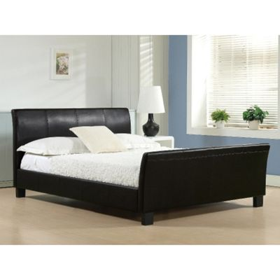 Black Faux Leather Sleigh Style Bed Frame - Double 4ft 6
