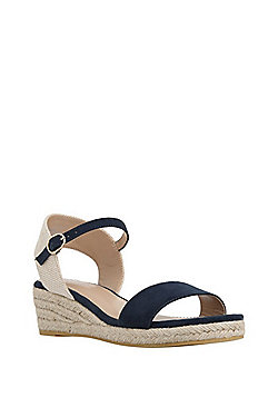 F&F Low Wedge Espadrille Sandals - Navy