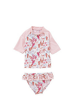 F&F Floral Print Sun Safe UPF50+ Rash Top and Bikini Briefs Set - Pink