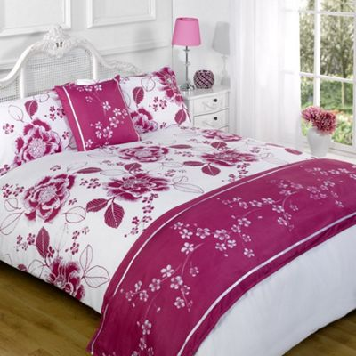 Dreamscene Floral Print Bed In A Bag Pink - Double Size