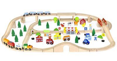 Viga Wooden Train Set 90 Piece